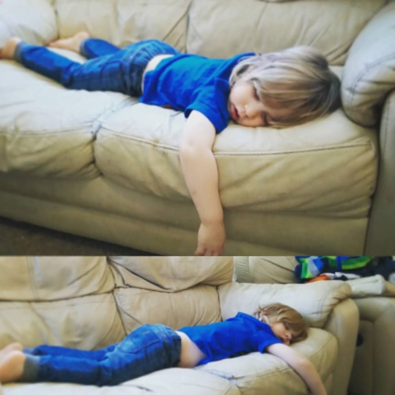 passed out on sofa like a boss
