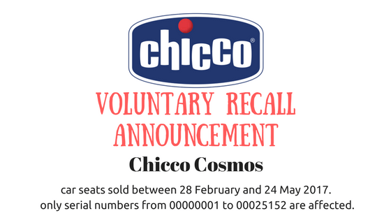CHICCO COSMOS CAR SEAT VOLUNTARY RECALL ANNOUNCEMENT